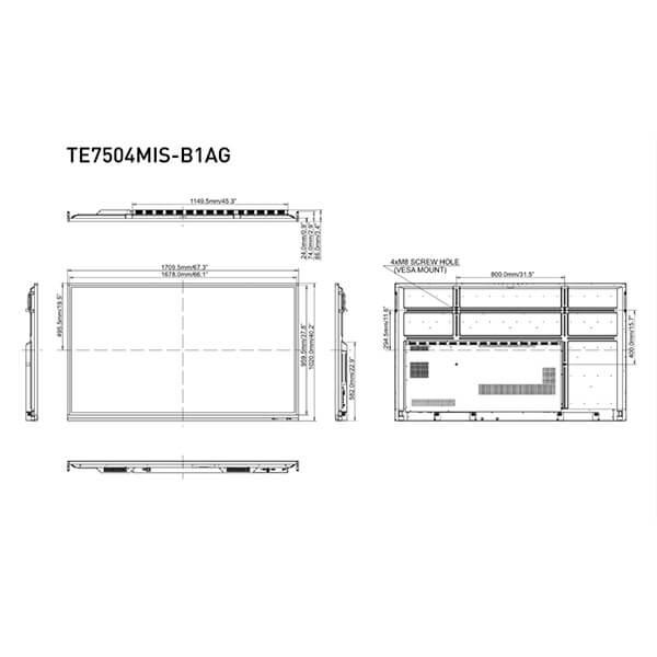 Интерактивная панель iiyama PROLITE TE7504MIS-B1AG — 75″