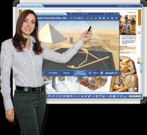 Учитель у интерактивной панели с ПО mozaBook