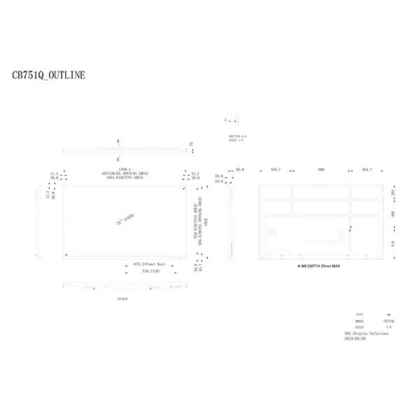 Инфракрасный сенсорный кооперационный дисплей NEC MultiSync® CB751Q — схема