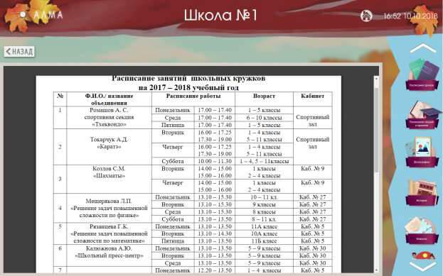 Расписание кружков и секций.