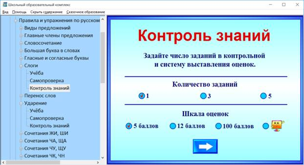 Тренажер по русскому языку. Контроль знаний.